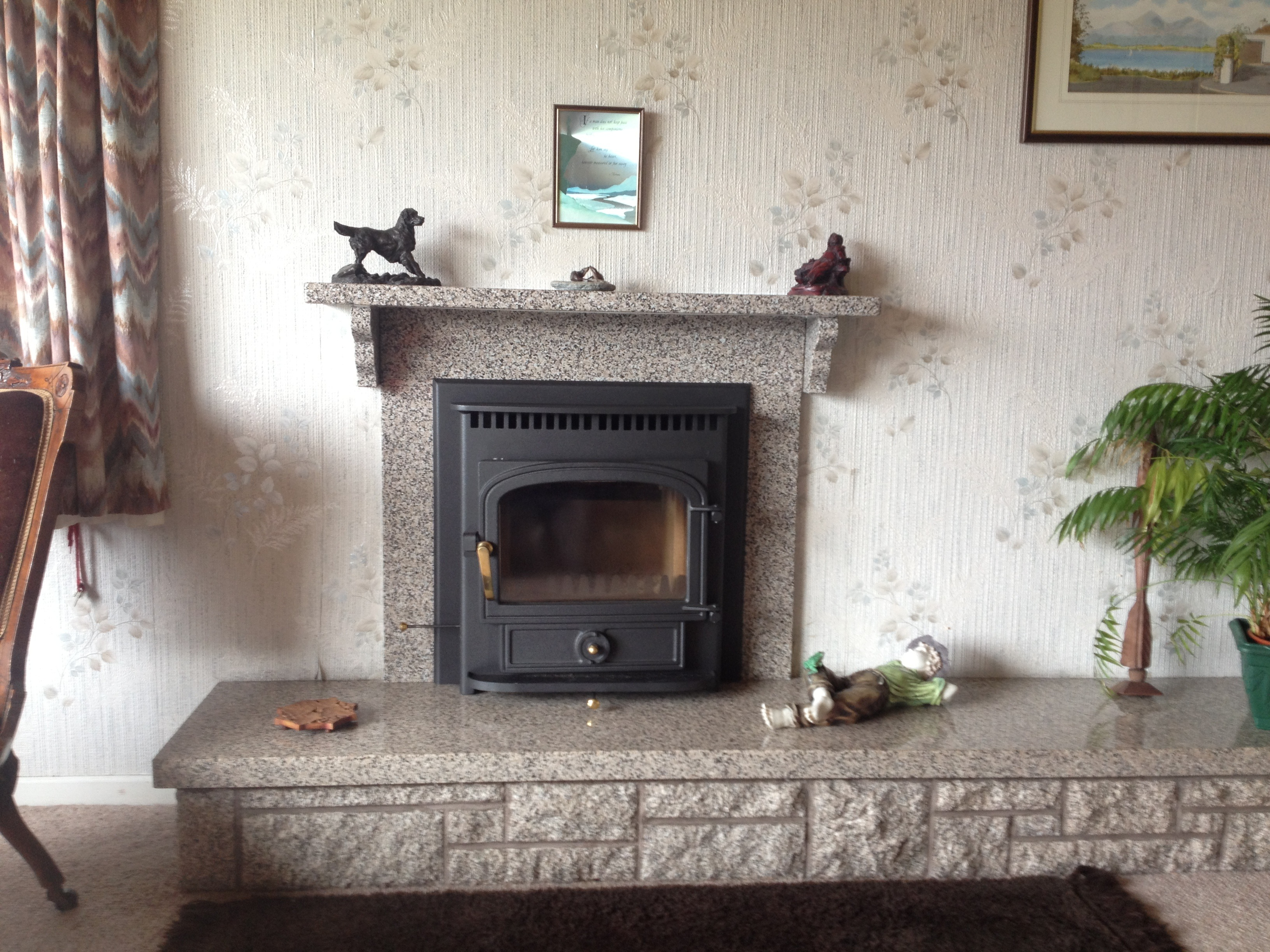 Inset in fireplace